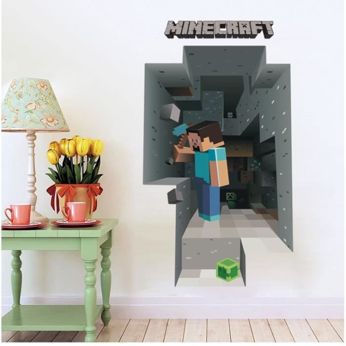 3d minecraft papier peint autocollants dessin anim d coration amovible decor stickers muraux. Black Bedroom Furniture Sets. Home Design Ideas