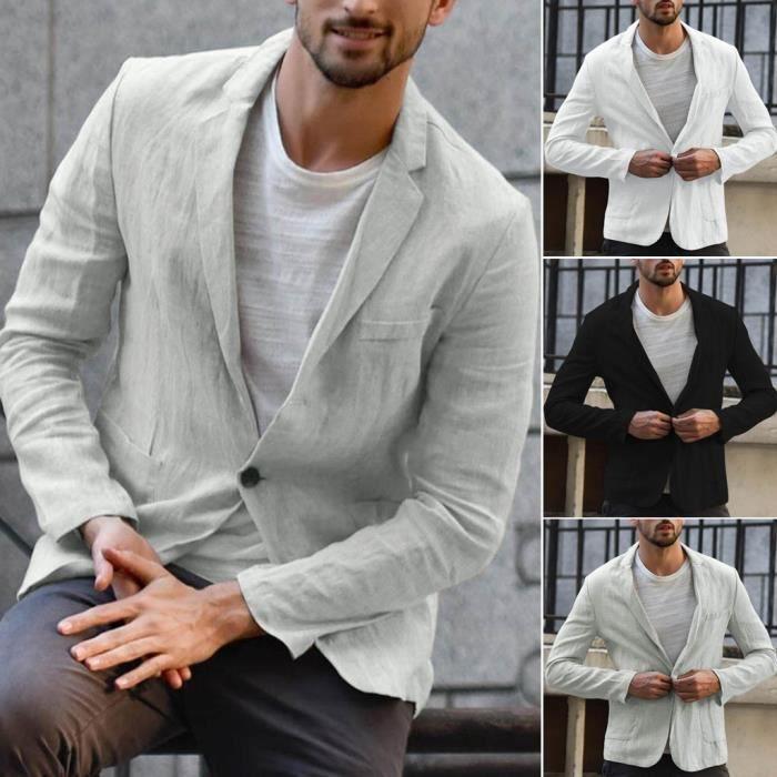 iHENGH❂Lin Slim Fit Hommes Blend Poche Solides Manches Longues Costumes Blazer Jacket Outwear Une Vari/ét/é de Couleurs Et de Tailles Top