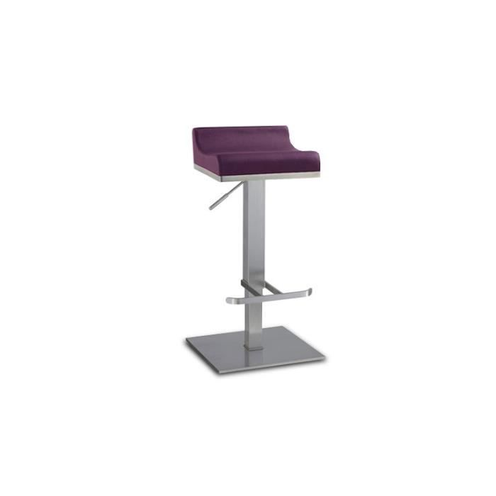 Tabouret de bar r glable en inox bross 65 90cm dalllas for Chaise pour table haute