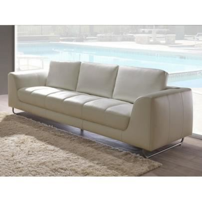 canap 3 places en cuir oleron blanc achat vente canap sofa divan les soldes sur. Black Bedroom Furniture Sets. Home Design Ideas