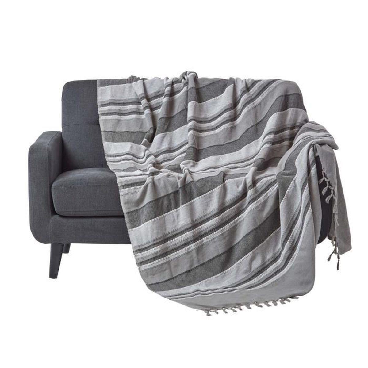 JETÉE DE LIT - BOUTIS Jeté de lit ou de canapé - Morocco rayures  - Gris