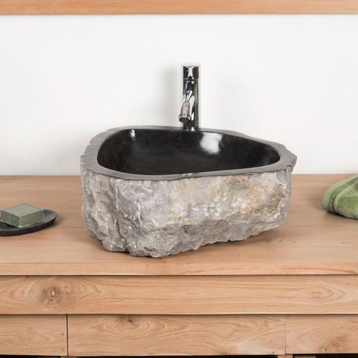 Grande Vasque de salle de bain à poser ROC en marbre noir - Achat
