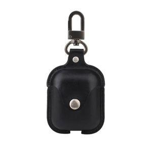 CASQUE - ÉCOUTEURS Noir Étui de recharge en cuir PU pour Apple AirPod