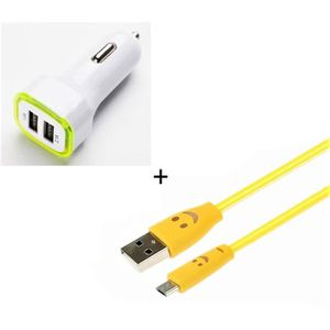 Shot Case Blanc Cable Chargeur Allume Cigare Micro-USB pour Samsung Galaxy A3 2016 Smartphone Android Port USB Prise Voiture Universel