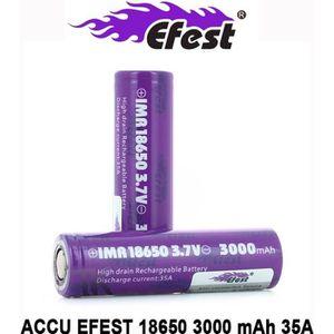 BATTERIE E-CIGARETTE Accu EFEST IMR 18650 Milka de 3000mAh et 35 Ampère