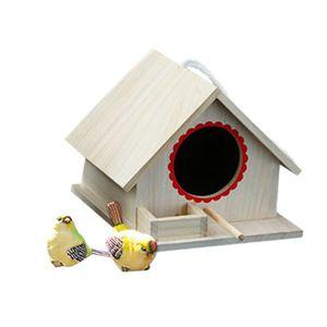 Cabane /À Oiseaux en Bois Longue Queue De Moineau en Bois Ou Petite Maison /À Oiseaux Perroquet Ornement De Maison /À Oiseaux Cage /À Oiseaux en Plein Air D/écoration De Maison Suspendue en Bois
