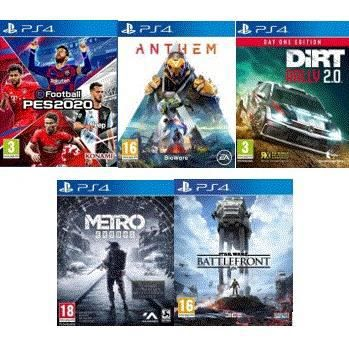 JEU PS4 PES 2020, Anthem, Dirt Rally 2.0, Metro Exodus, St