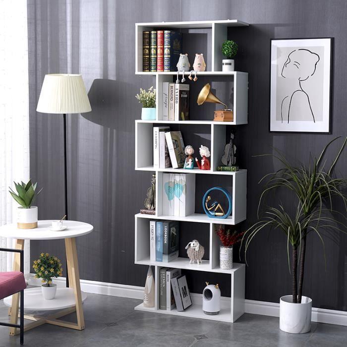 Bibliothèque Étagère Blanc à 6 Niveaux - Meuble de Rangement Design Contemporaine pour Chambre Salon Bureau