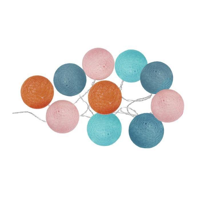 Atmosphera - Guirlande lumineuse 10 boules LED D 6 cm Jungle pop Multicolore