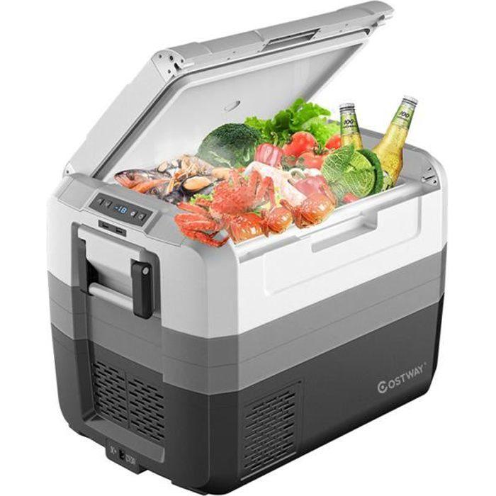 COSTWAY 55L Réfrigérateur Portable -22 ℃ à + 10℃ Réfrigérateur de Voiture 100-240V Mini Réfrigérateur pour Camping A+