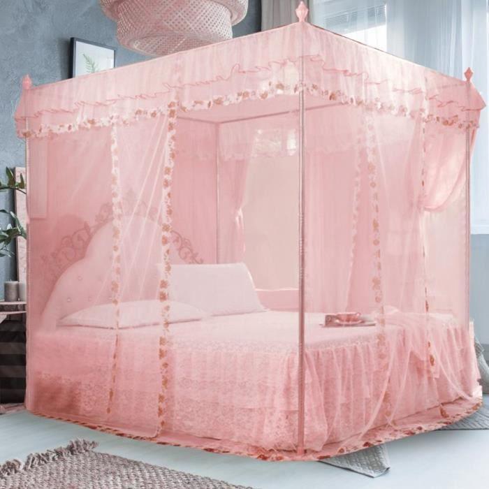 Princesse de luxe 3 ouvertures sur le c?té Rideau de lit à baldaquin Filet Moustiquaire Literie (Rose S)