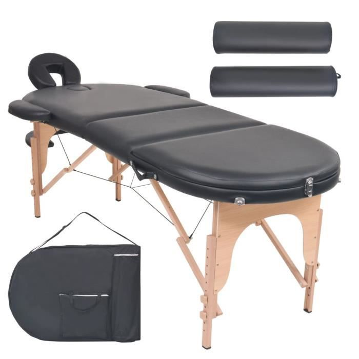 YAJIASHENG Table de massage pliable 10 cm d'épaisseur et 2 traversins Noir☻☺1