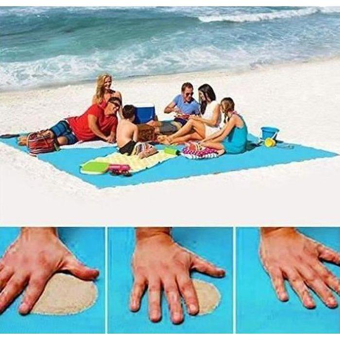 Plage Tapis Anti-sable,Tapis de Plage Anti-sable pour La Plage Pique-Nique Le Camping 200*200cm Bleu