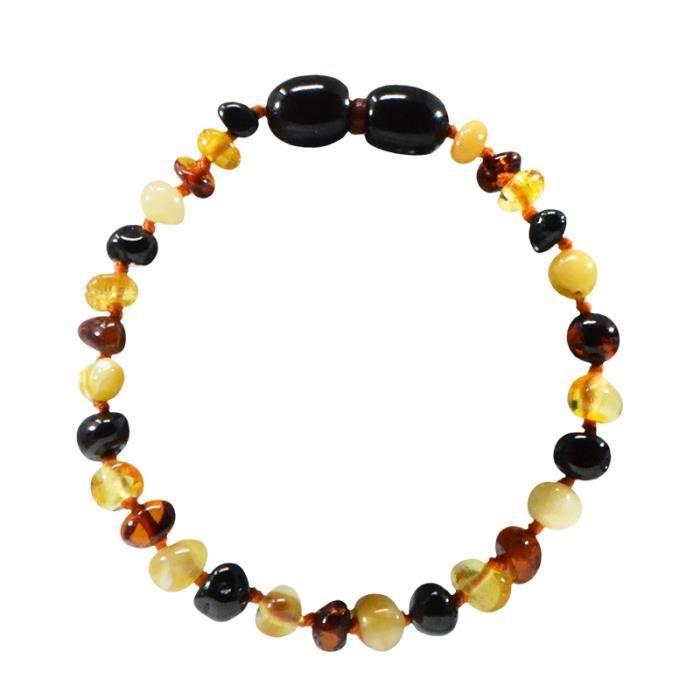 Bracelet d'ambre - Bébé/Nourrisson - Multi -Soulage les poussées dentaires -Pierres naturelles -Idée cadeau -Puériculture - Bienfait