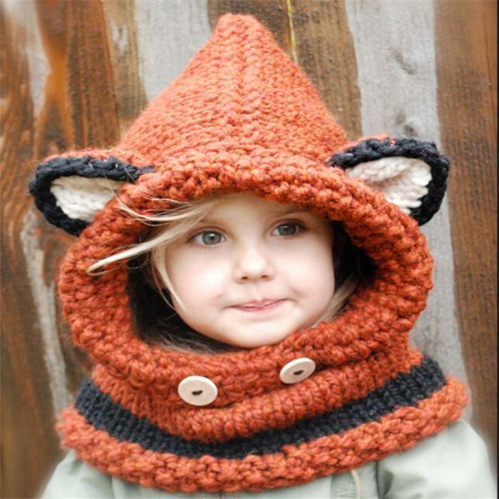 NH™ Casquette pour enfants laine tricoté à la main Casquette oreille Cap Cape rouge
