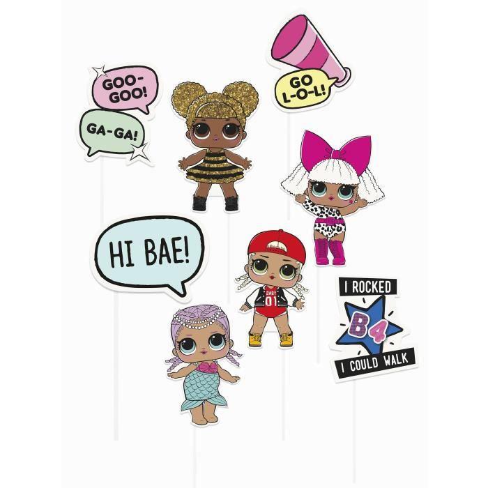 Lot de 12 - Kit photobooth LOL Surprise 8 accessoires - Taille unique - Décoration et accessoires de fête, animation festive,