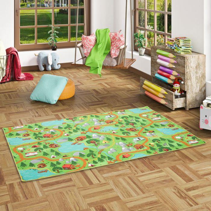 Tapis de jeu pour enfant - camping vert [160x200 cm]