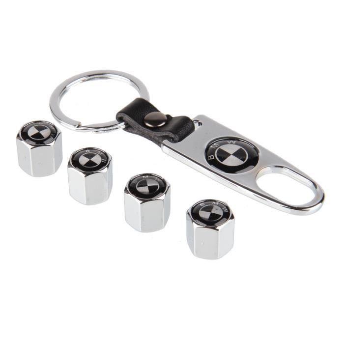 4 x Bouchon de valves de pneu roue et Porte clés ( Chrome) Argent -BMW noir blanc logo