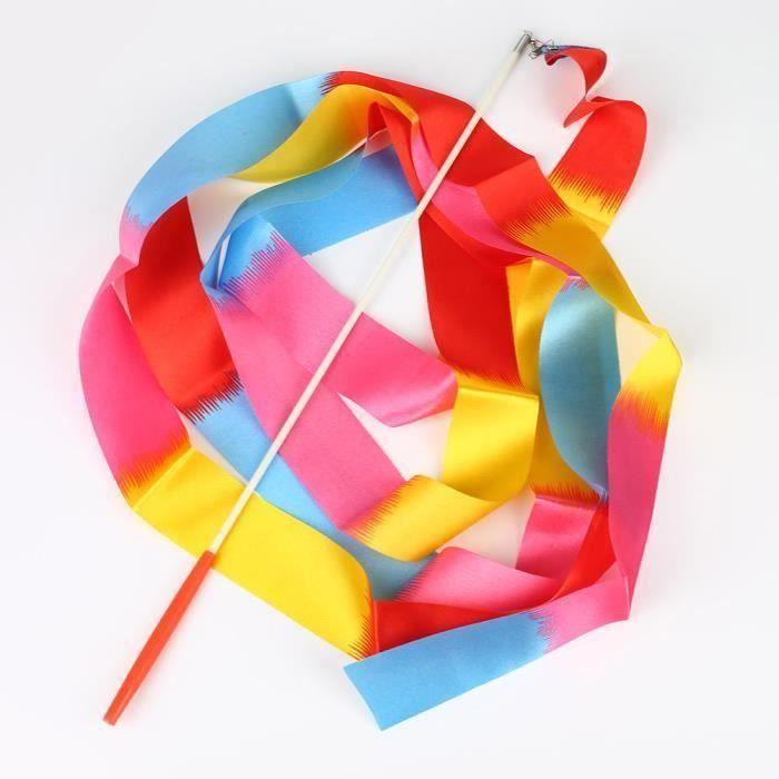 Danse ruban gym gymnastique rythmique tige art ballet twirling bâton 4m Splice de couleur Em49071