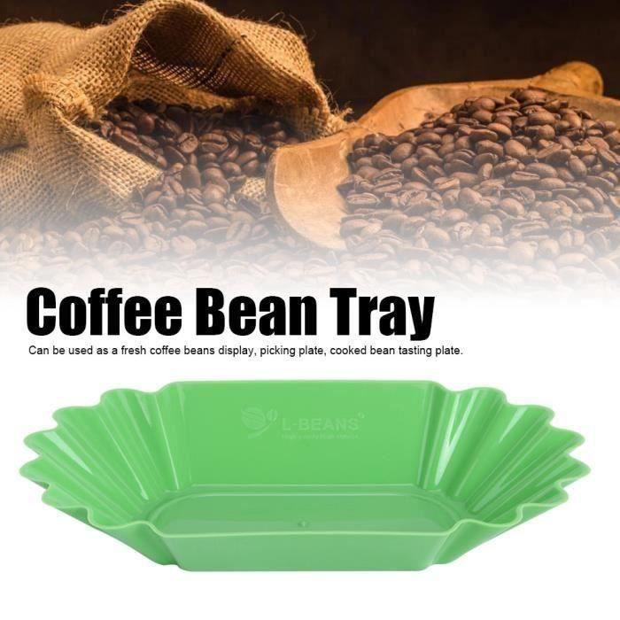 Alimentaire PP grains café échantillon plateau affichage plat plaque récipient accessoires cuisine en plastique(vert)