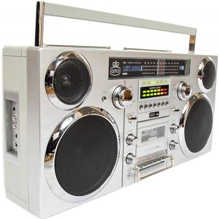 GPO BROOKLYN Boombox 80s avec Bluetooth, CD, cassette, USB et radio DAB +, argent