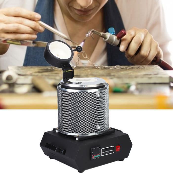 Dioche Four de fusion 2 kg four de fusion électrique résistant à la chaleur or argent métal fonderie bijoux outil de traitement