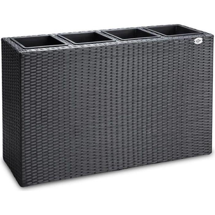 Deuba - Bac à Fleurs • polyrotin Noir • 4 Compartiments • 95 x 27 x 60 cm- Pot Fleurs, bac Vertical, intérieur, extérieur