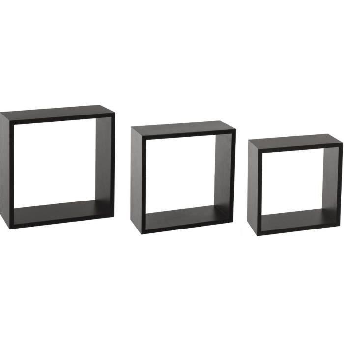 Lot de 3 étagères Cube Fixy MDF_E2 - Noir