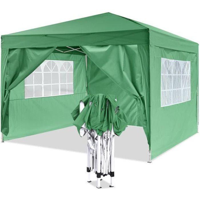 Tonnelle pliant imperméable de jardin, Chapiteau Tente de réception 3 x 3 m Pavillon, Pergola, Barnum - Vert