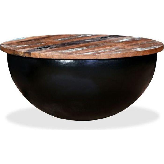 Homgeek Table Basse de Salon - Table Basse Relevable - Table Basse Industrielle Bois de Récupération Massif Forme de Bol Noir