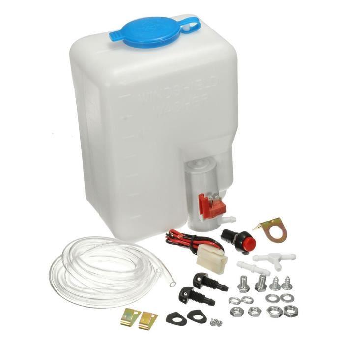 Kit de réservoir de bouteille de lave-glace universel pompe 12V 1.8L Réservoir d'essuie-glace