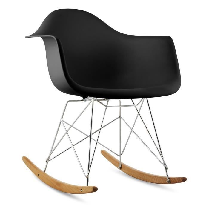 oneConcept Aurel Chaise à bascule - meuble design rétro bois de bouleau - noir