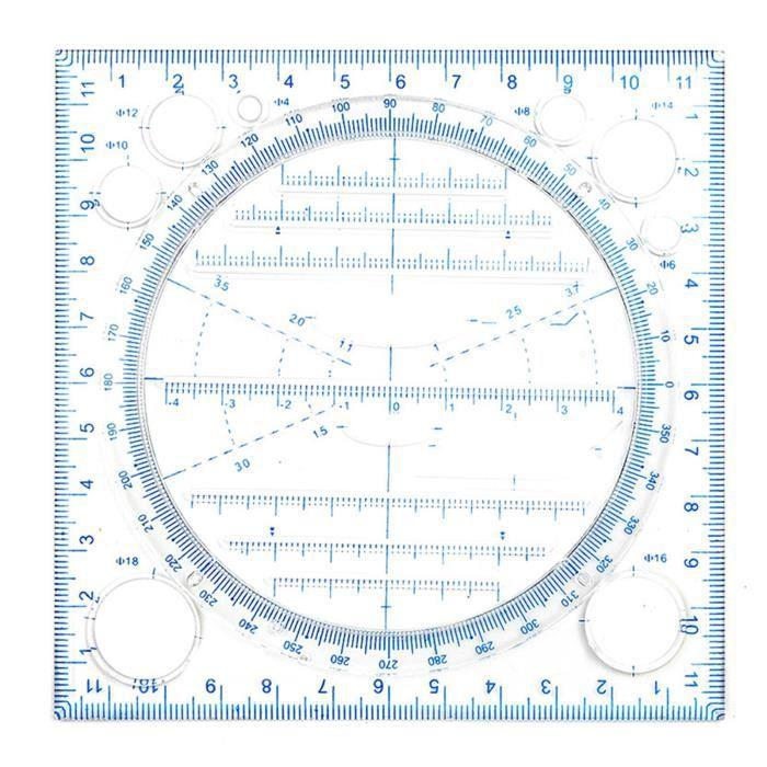 Règle de dessin multifonctionnelle Dessin polyvalent courbe ronde horizontale parallèle