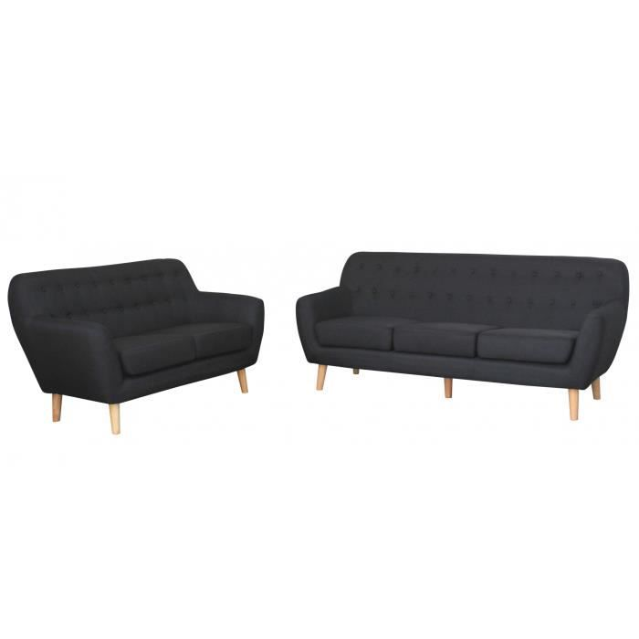 ensemble canap scandinave 3 2 places tissu noir viky achat vente canap sofa divan. Black Bedroom Furniture Sets. Home Design Ideas