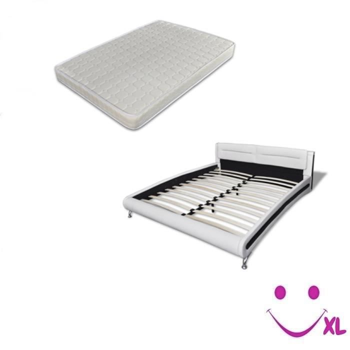 lit en cuir artificiel avec matelas 200 x 180cm blanc. Black Bedroom Furniture Sets. Home Design Ideas