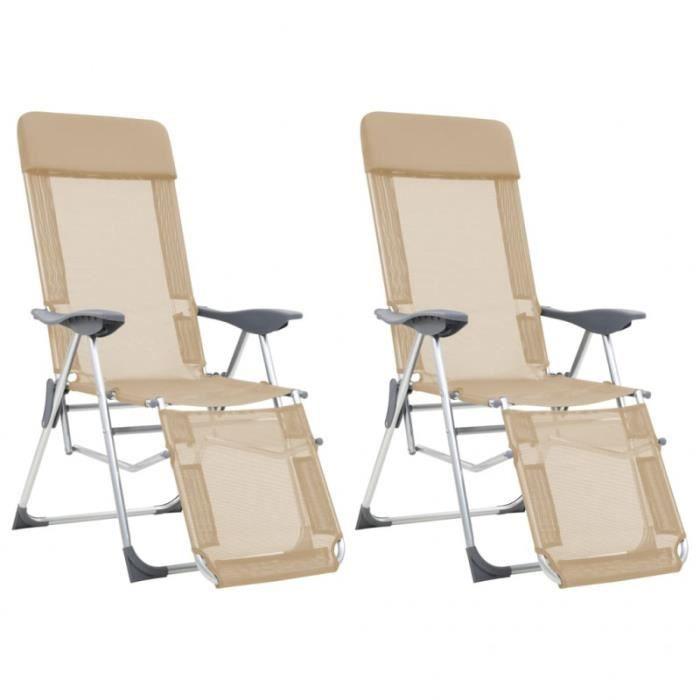 TENTE DE CAMPING Chaises de camping pliables 2pcs et repose-pied Cr