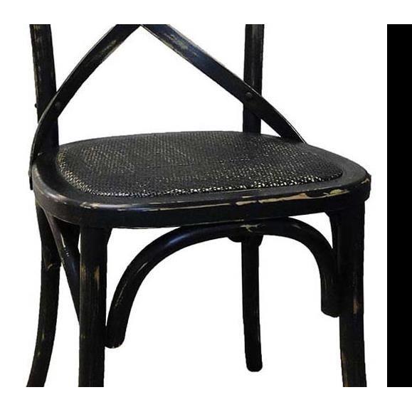 Chaise De Bistrot En Bois Vieilli Noir Achat Vente Chaise Cdiscount