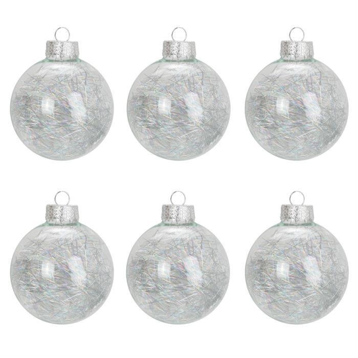 Lot de 6 Boules de Noël en verre avec cheveux d'ange   Achat