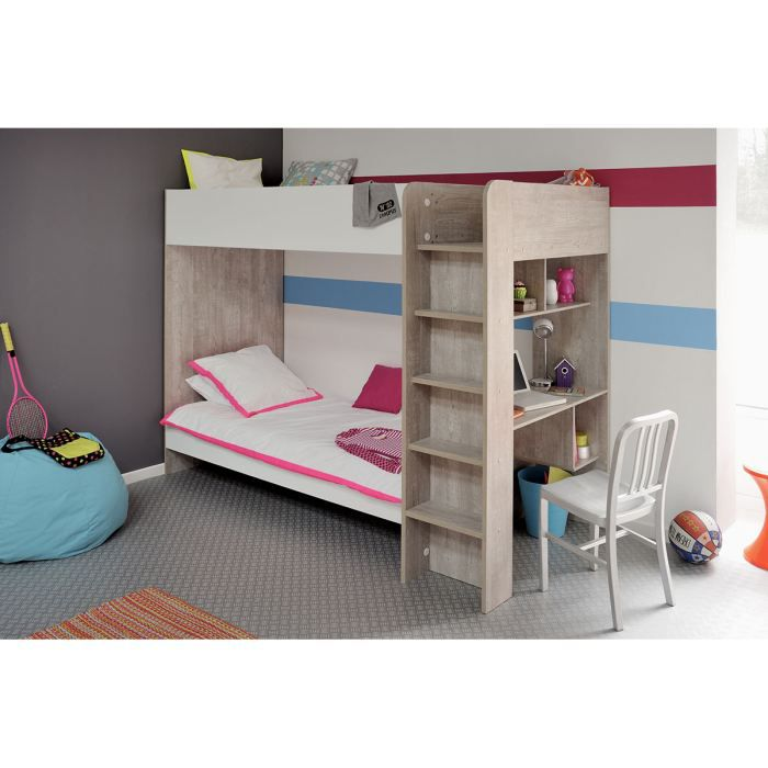 lits superpos s enfant 90x200 cm gris loft et b achat. Black Bedroom Furniture Sets. Home Design Ideas