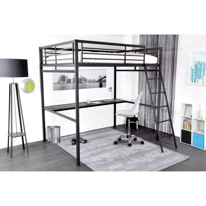 grafik lit mezzanine adulte avec sommier bureau style industriel en m tal laqu poxy. Black Bedroom Furniture Sets. Home Design Ideas