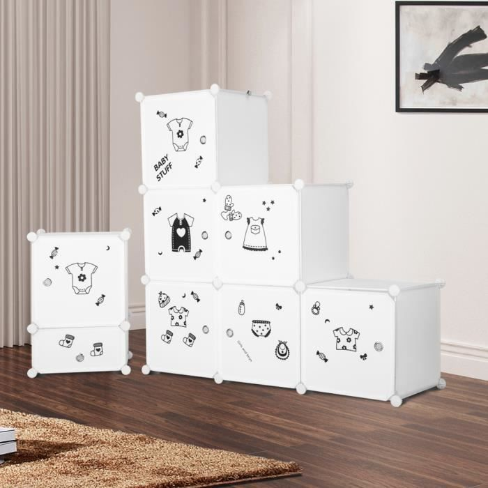 LANGRIA Armoire Étagères Plastique Penderie Meuble Rangement Chambre  Enfants Bébé 8 Cubes Vêtements Table de Chevet - Blanc