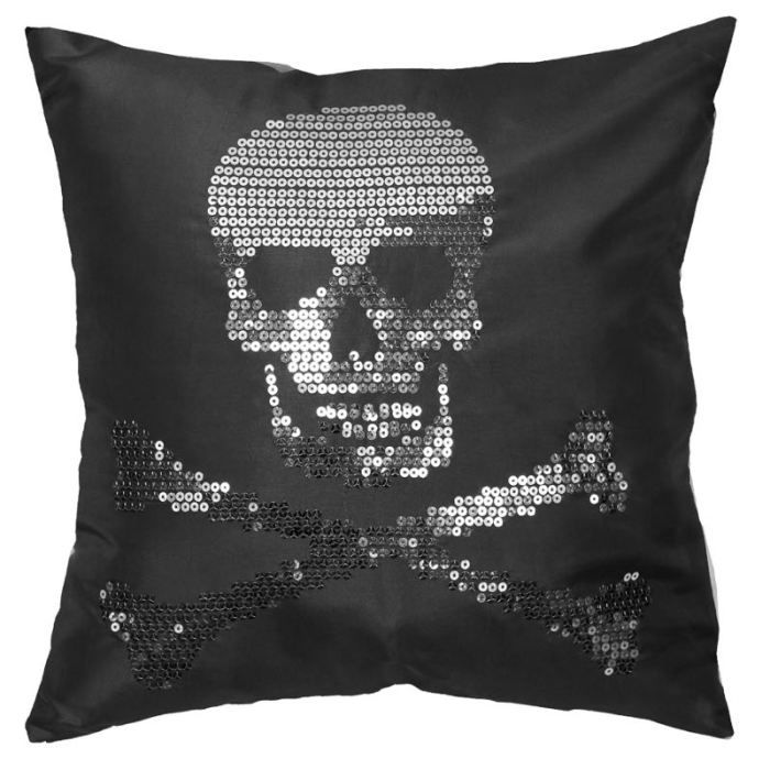 coussin deco 40x40cm tete de mort noir achat vente. Black Bedroom Furniture Sets. Home Design Ideas