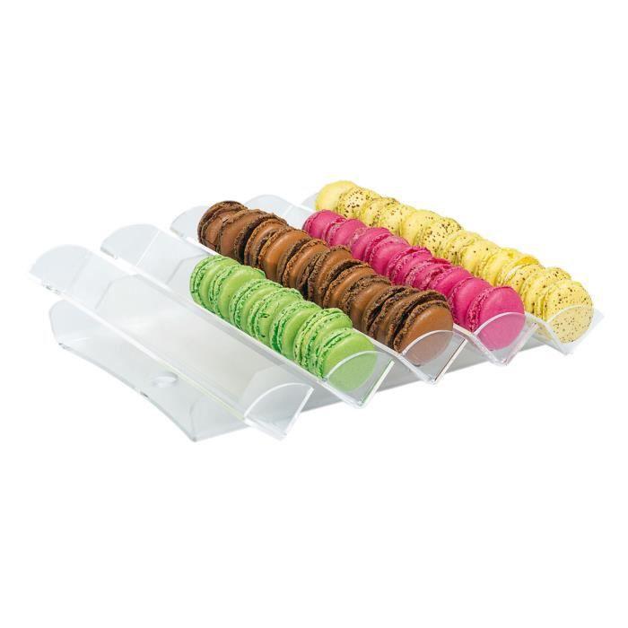 Présentoir bijoux Porte-macarons incliné 5 rangs transparents