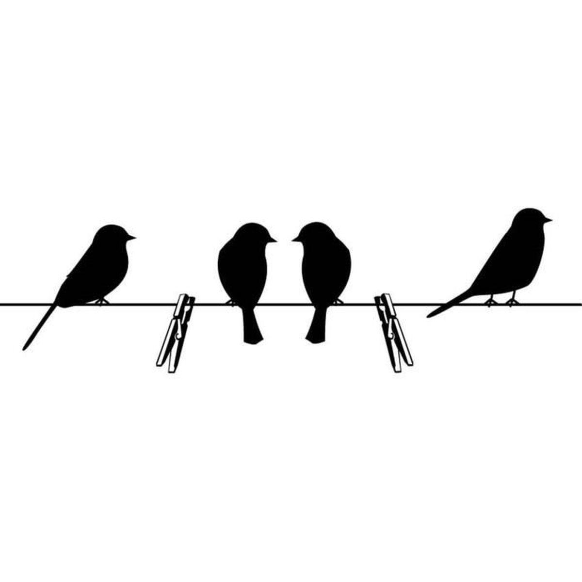 Sticker Oiseaux Sur Un Fil sticker oiseaux sur le fil noir - achat / vente stickers