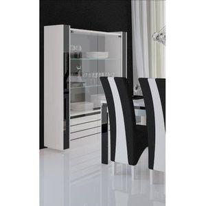 VITRINE - ARGENTIER LINA Vitrine argentier vaisselier + LED blanc/noir