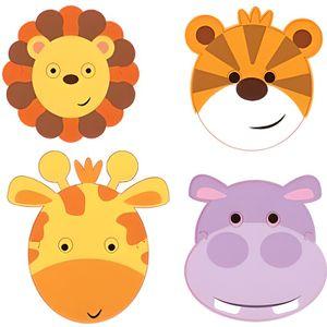 MASQUE - DÉCOR VISAGE Masques animaux de la jungle en carton (x8)