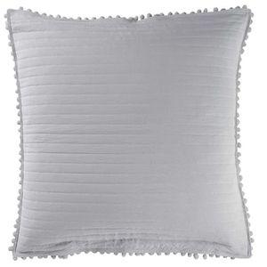 douceur dint/érieur housse de coussin  60x60 cm microfibre bicolore cottage anthracite//blanc