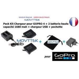 BATTERIE APPAREIL PHOTO Movttek® Pack de chargement GOPRO 4 double batteri