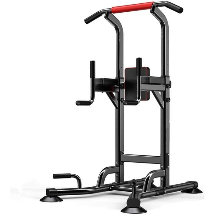 Station de Traction Barre de Traction Multifonctions Ajustable Dip Banc de Musculation Power Tower