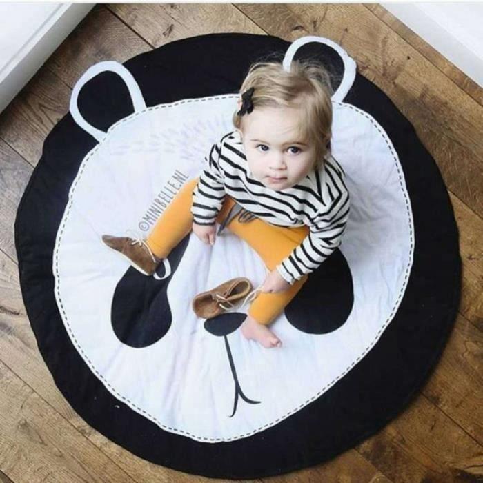 Tapis D'éveil Bébé Aire D'eveil Diamètre: 90cm, Tapis Rond en Coton Doux pour Sommeil et Reptation Décoration de Salle - Panda